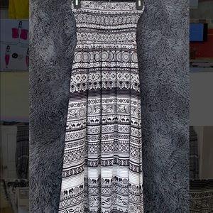 Animal Brand black and white maxi strapless dress